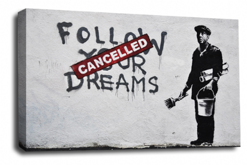 Banksy Art Cancelled Dreams Canvas Wall Art Peace Love Picture